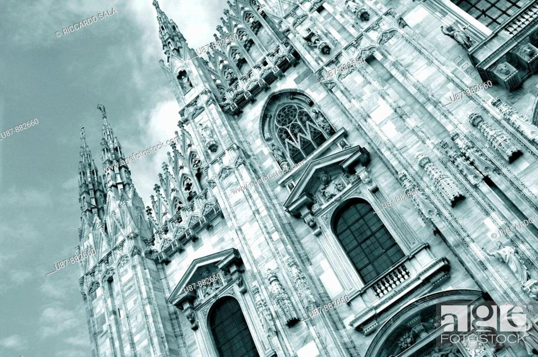 Stock Photo: Italy  Lombardy  Milan  Duomo Cathedral, Detail Facade.
