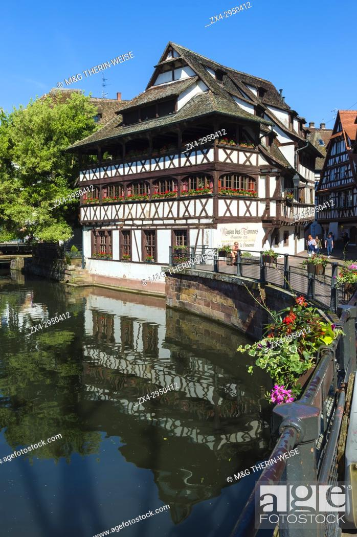 Stock Photo: Maison des Tanneurs and timbered houses along the ILL canal, Petite France District, Strasbourg, Alsace, Bas-Rhin Department, France.