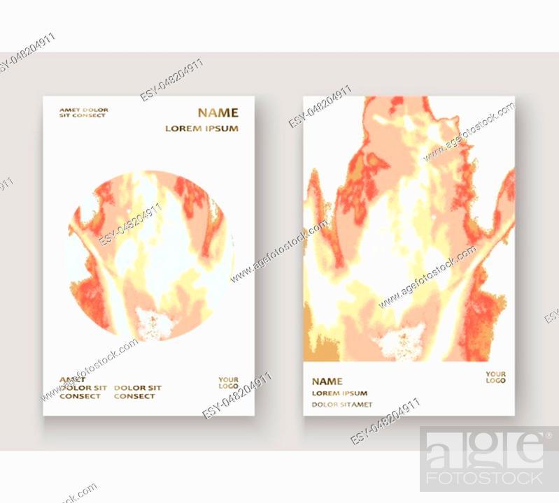 Stock Vector: Coral gold marble luxurious texture paint artistic, wedding invitation design. Decorative pink golden splash fluid on white background, vector Illustration.