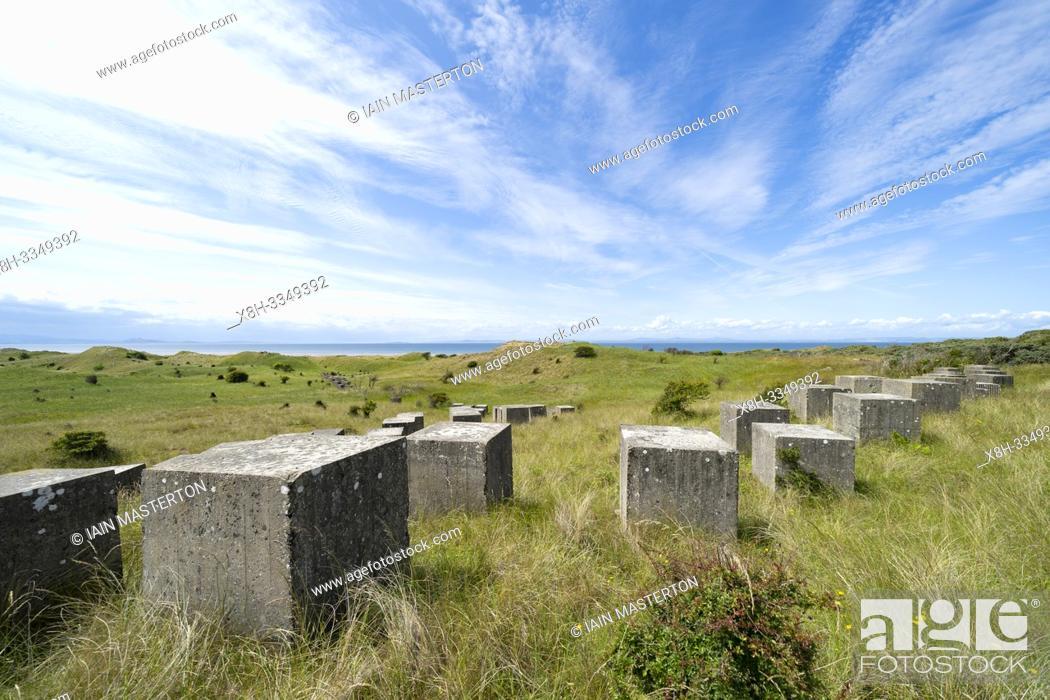 Stock Photo: Aerial view of Second World War era anti-tank blocks at Gullane Sands in East Lothian, Scotland, UK.
