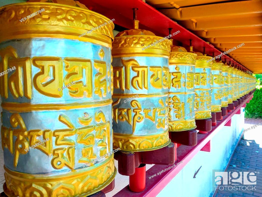 Stock Photo: Buddhist Temple of Dag Shang Kagyü, Panillo, Huesca, Spain.