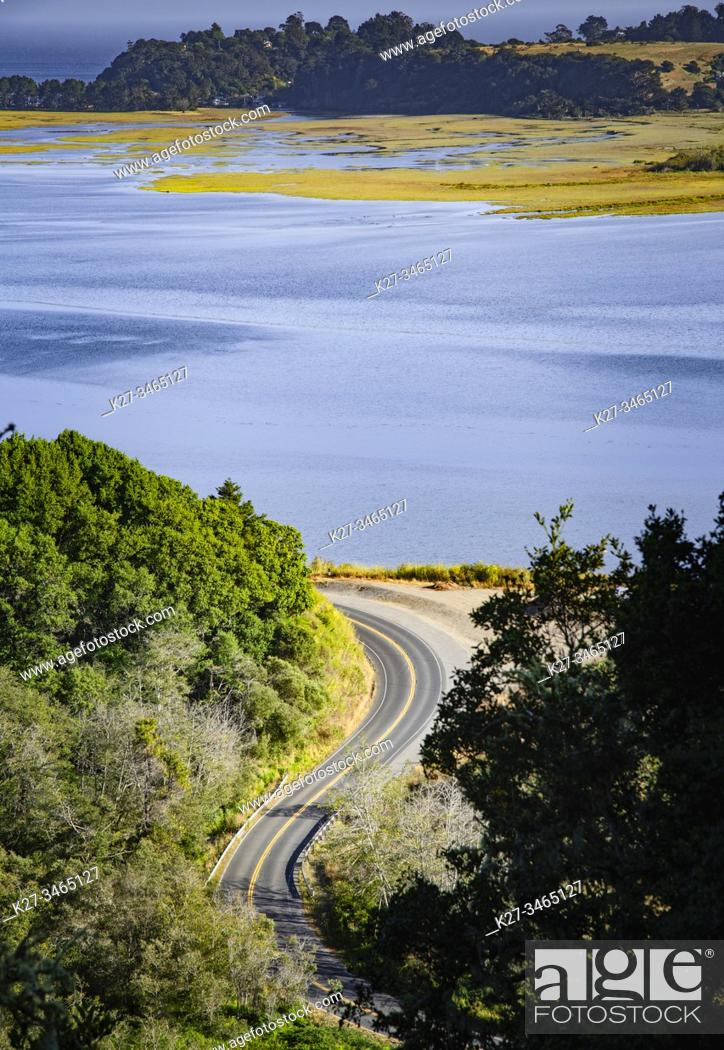 Stock Photo: Curving road ( Highway 1 ) along Bolinas Lagoon from above. Marin County, California, USA.