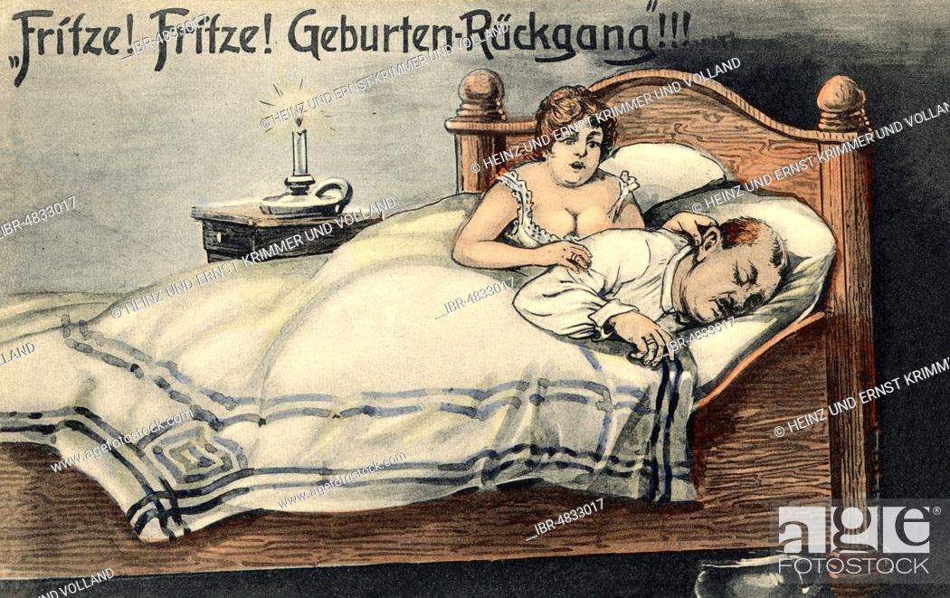 Stock Photo: Satire on the subject of falling birth rates in the 1920s, Germany.