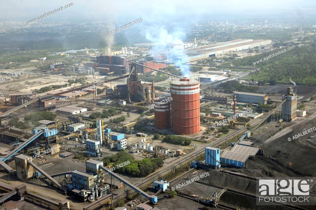 Stock Photo: aerial view of the Mittal Steele in Lazaro Cardenas.