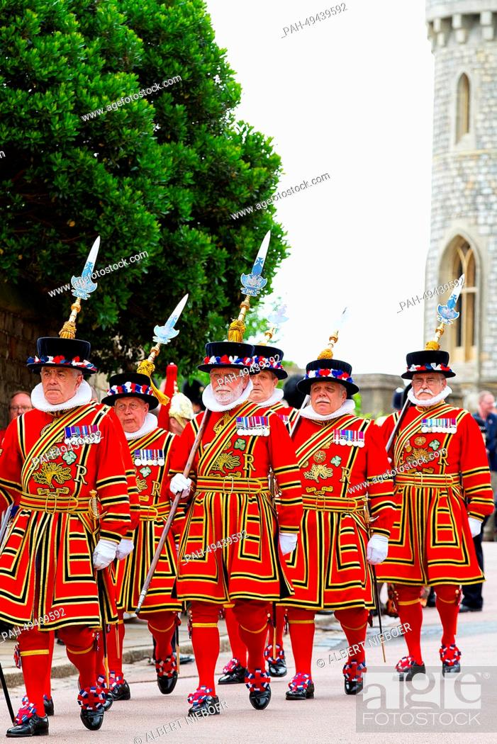 Stock Photo: Beefeaters at Windsor Castle during The Order Of The Garter Service in Windsor, United Kingdom, 16 June 2014. Photo: RPE-Albert Nieboer/dpa NETHERLANDS OUT.