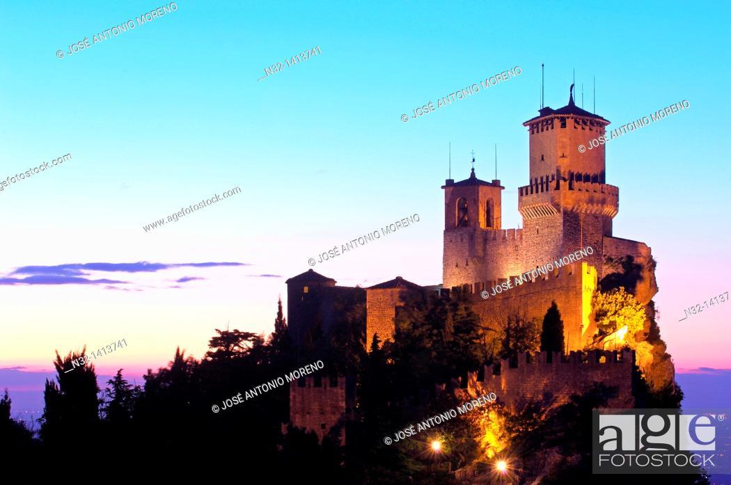 Stock Photo: Rocca Guaita tower at dusk, Monte Titano, City of San Marino, Republic of San Marino.