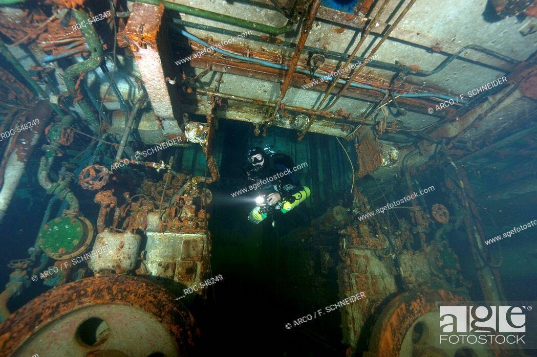 Stock Photo: Tech-Diver in wreck, Diesel engine room, technical diving, tech diving, tech-diving, Nitrox, Trimix, Heliox, Gozo, Malta, Europe, mediterranean.