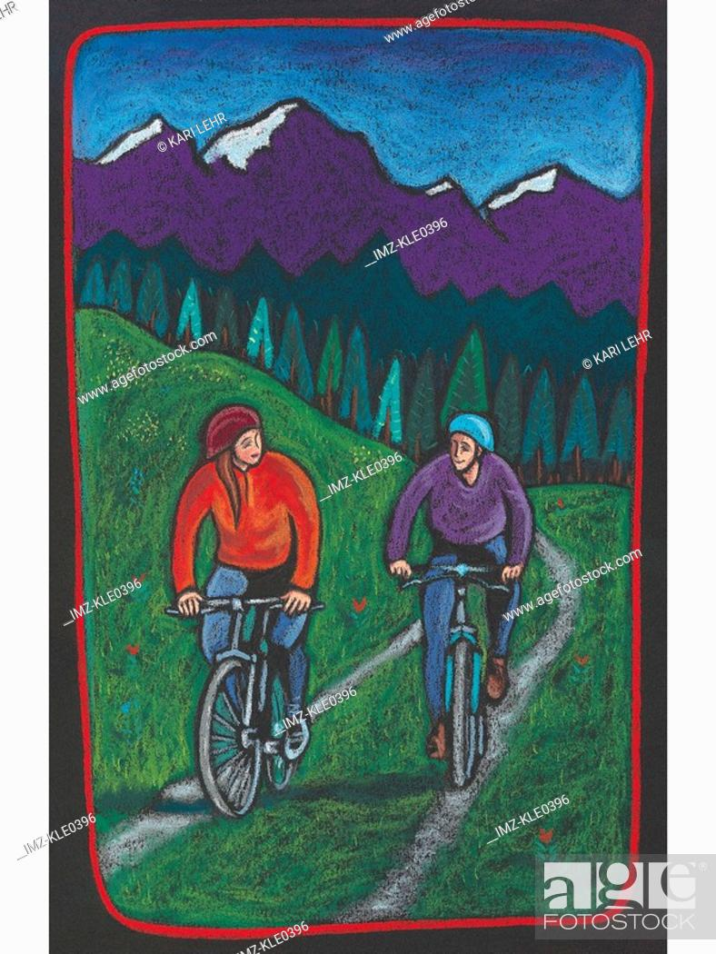 Stock Photo: A couple biking along a trail with a forest and mountains behind them.