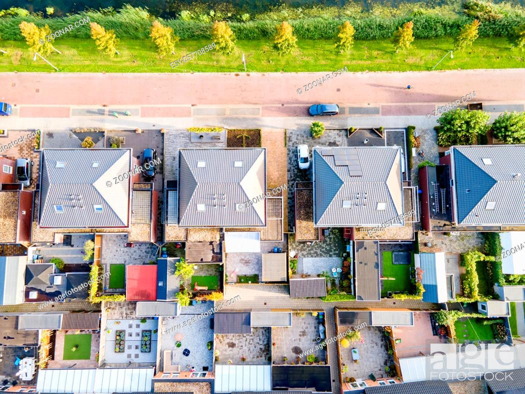 Stock Photo: Top view of house Village from Drone capture in the air house is brown roof top Urk netherlands Flevoland. High quality photo with drone.
