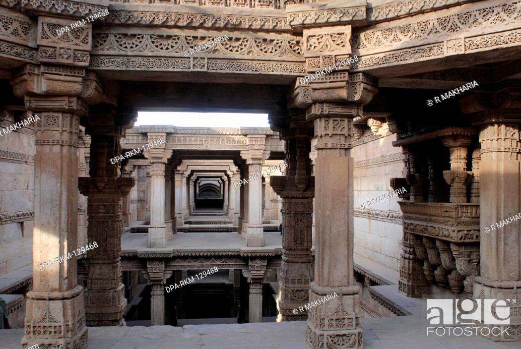 Stock Photo: Intricate stone carving in Wav baoli well built Queen Rudabai 1498 at Adalaj 19 km Ahmedabad ; Gujarat ; India.