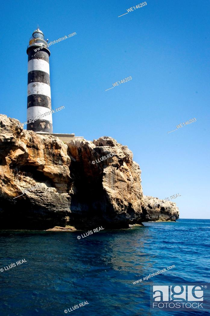 Stock Photo: Lighthouse. Illa de l'Aire in front of Punta Prima, Minorca, Balearic Islands, Spain.