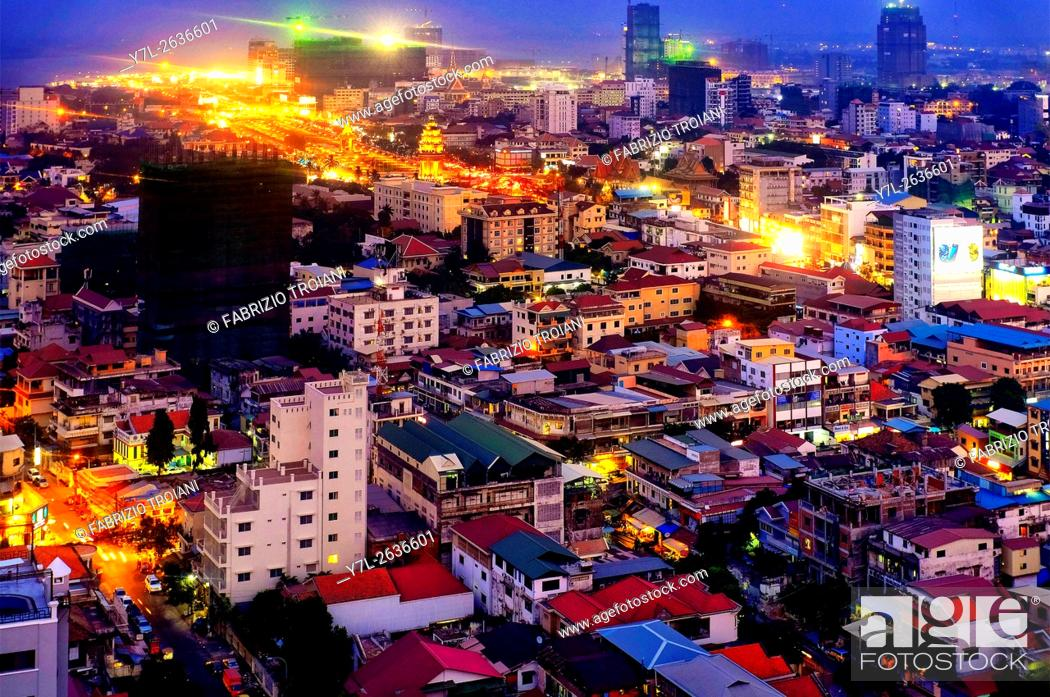 Stock Photo: Aerial view of Phnom Penh.