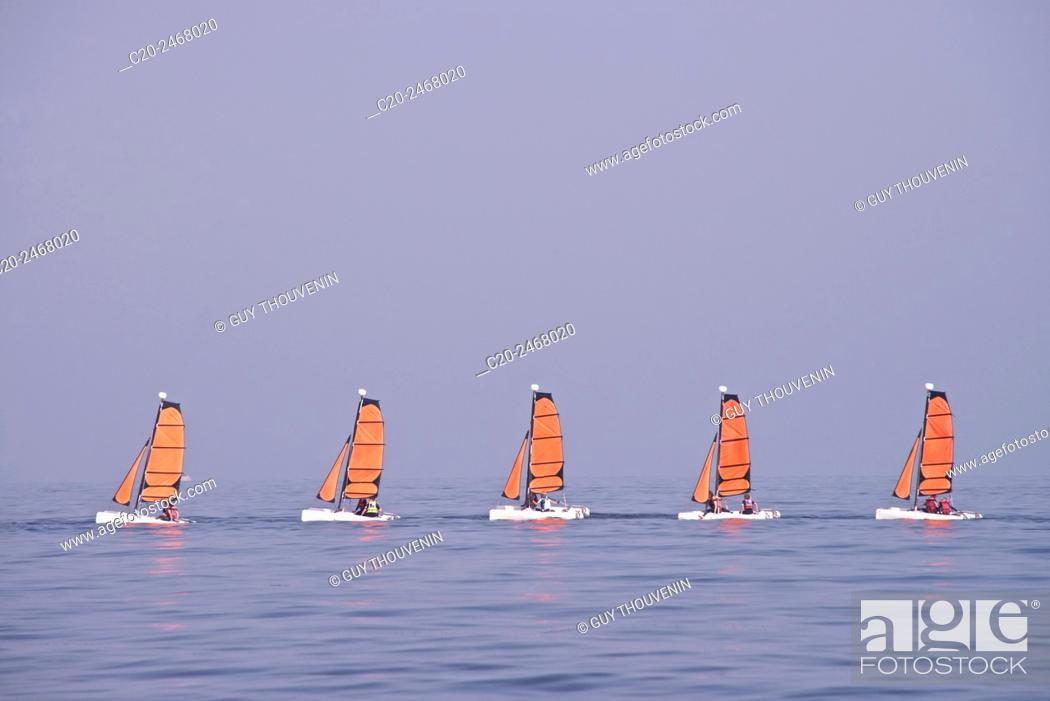 Stock Photo: Beach scene, sailing school boats, Trouville sur Mer, 14, Normandy, France.