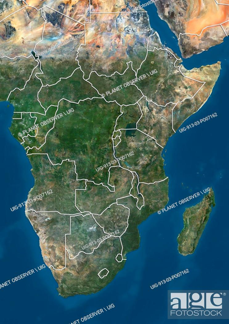 Satellite View Of Southern Africa With Country Boundaries Stock