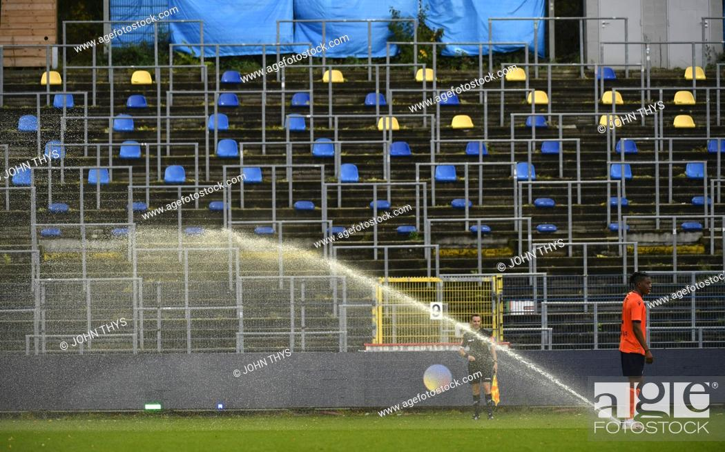 Stock Photo: Union's Jonas Bager try to stpo the water during a soccer match between Royale Union Saint-Gilloise and Club Brugge NXT, Sunday 25 October 2020 in Brussels.
