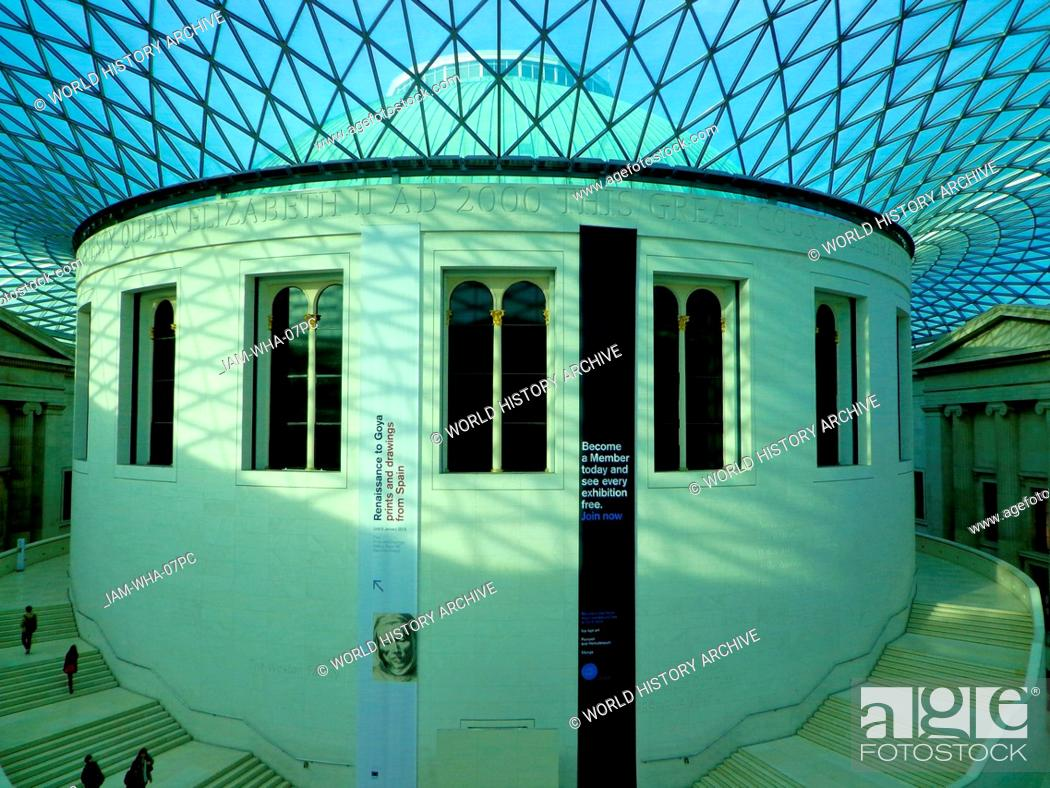 Stock Photo: Queen Elizabeth II Great Court at the British Museum, UK. Designed by Fosters and Partners and opened in 2000 AD. Europe's largest covered public square.