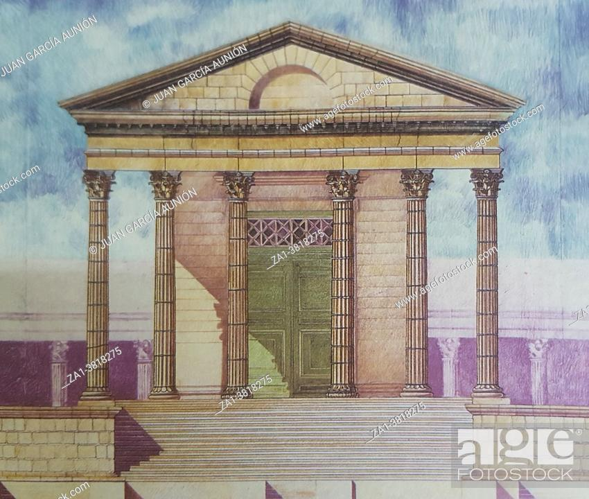 Stock Photo: Temple of Diana facade, Hypothetical depiction by Dionisio Hernandez, Merida, Extremadura, Spain. Best-preserved Roman temple in Spain.