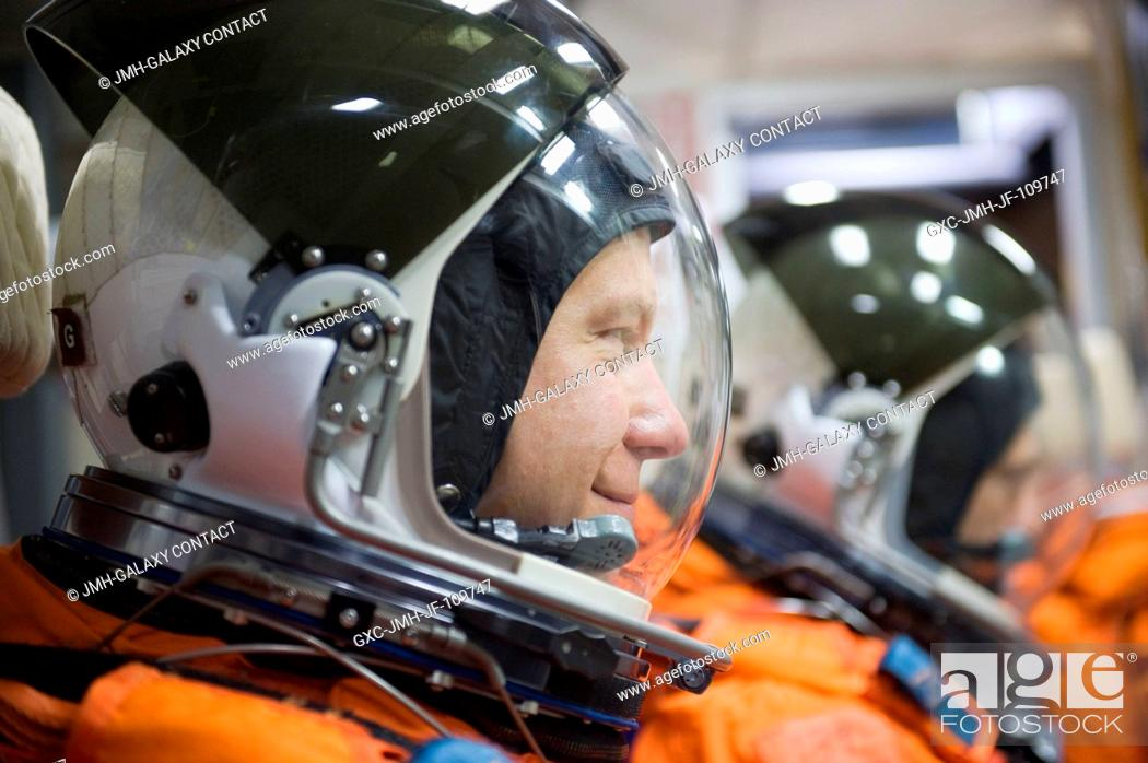 Stock Photo: Astronaut Tim Kopra, STS-127 mission specialist, attired in a training version of his shuttle launch and entry suit, is pictured during a training session in.