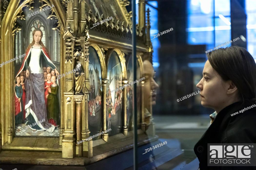 Stock Photo: The Shrine of St. Ursula. Saint Johnâ. . s Hospital Museum. Bruges. Belgium.