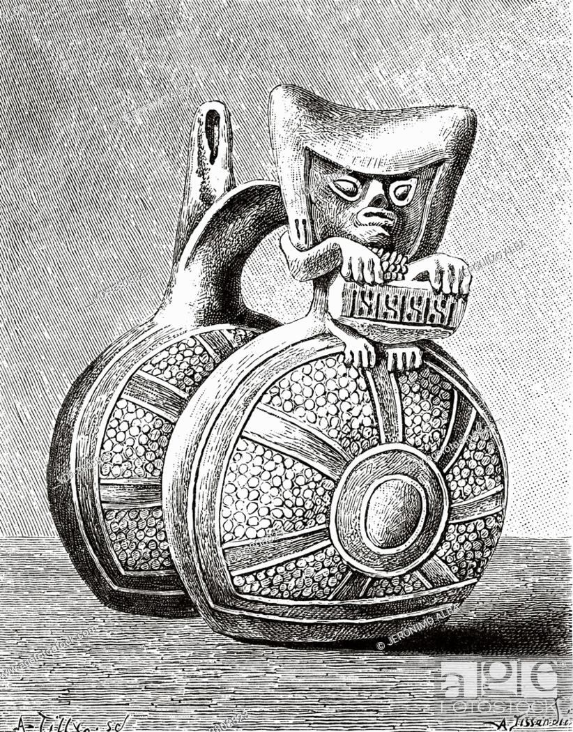Stock Photo: Pre-Columbian Whistling Jar. The whistling pot, an aerophone wind instrument typical of the pre-Columbian American culture in the geographical area of Peru.