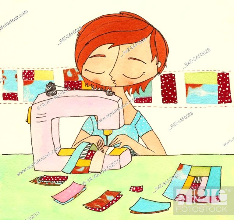 Stock Photo: A woman sewing a quilt.