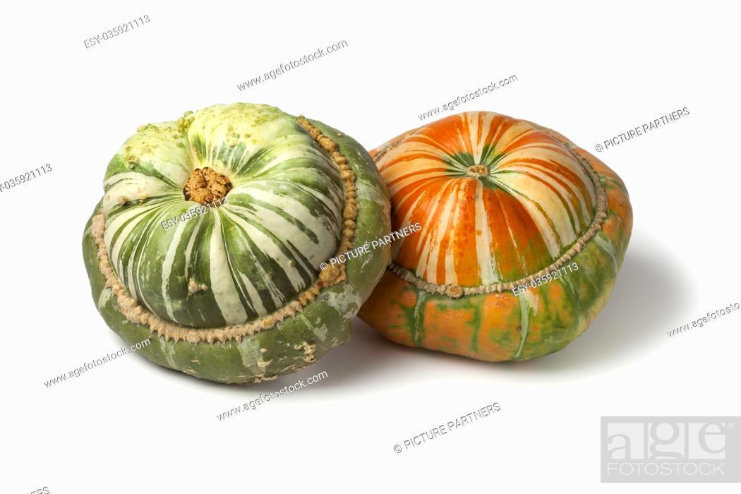 Photo de stock: Fresh heirloom orange and green Turban squashes on white background.