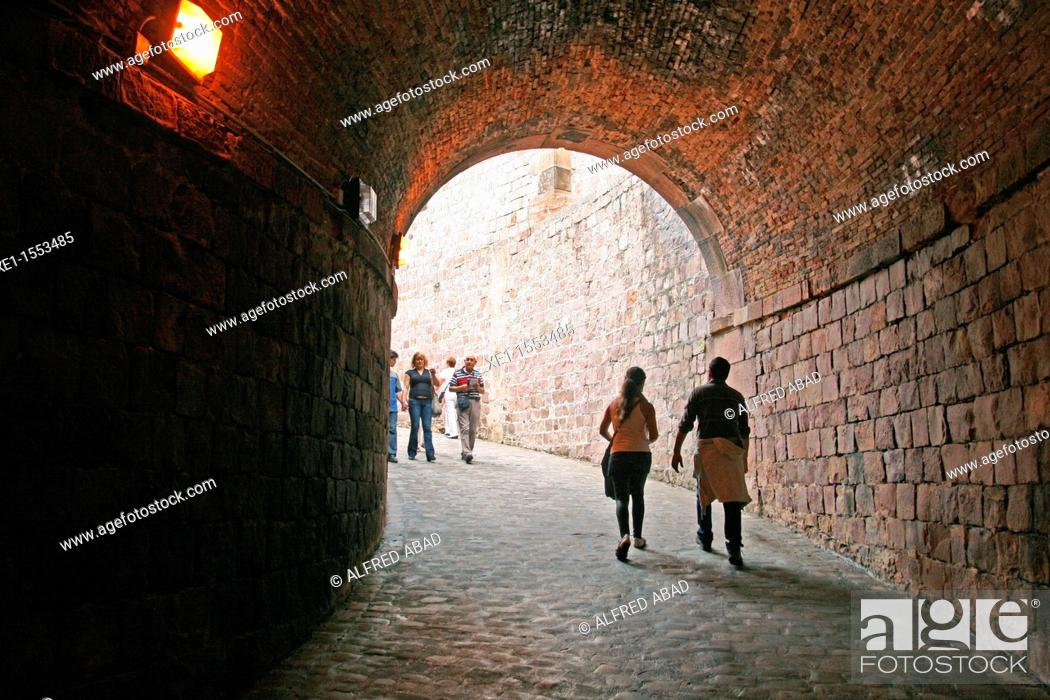 Stock Photo: tunnel, castle of Montjuic, Barcelona, Catalonia, Spain.