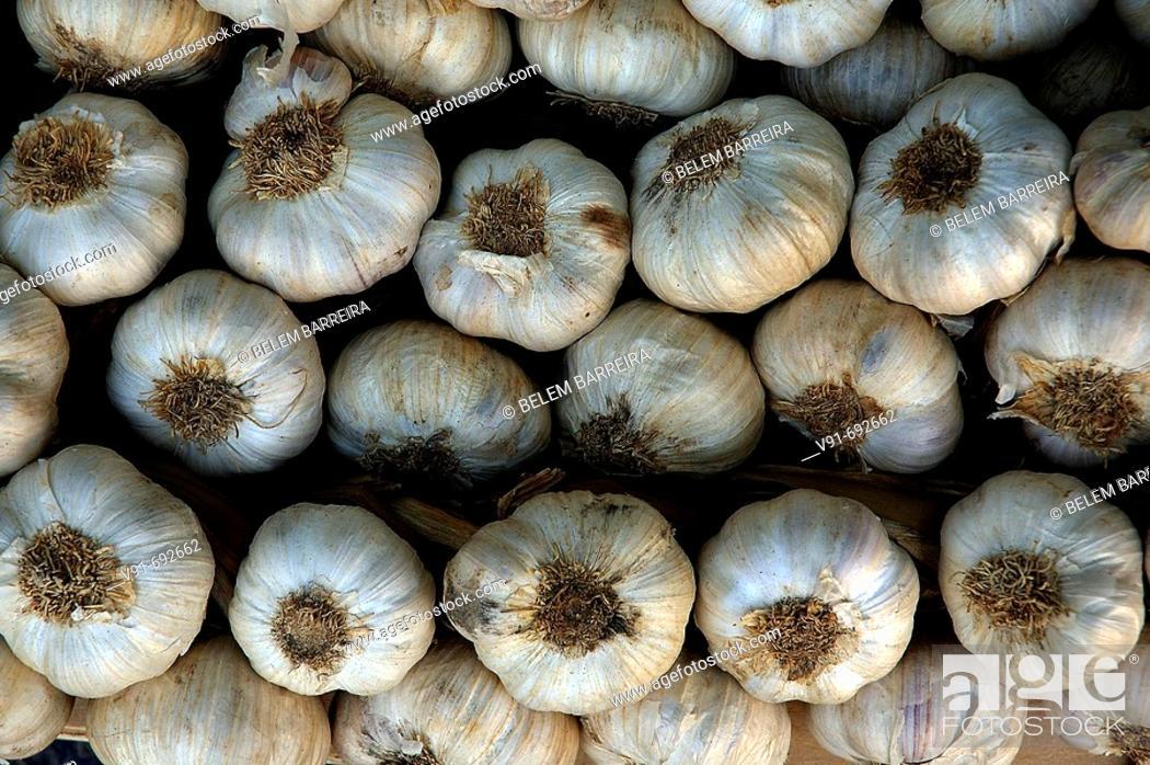 Stock Photo: Garlic for sale, Godella. Valencia province, Comunidad Valenciana, Spain (April 2007).