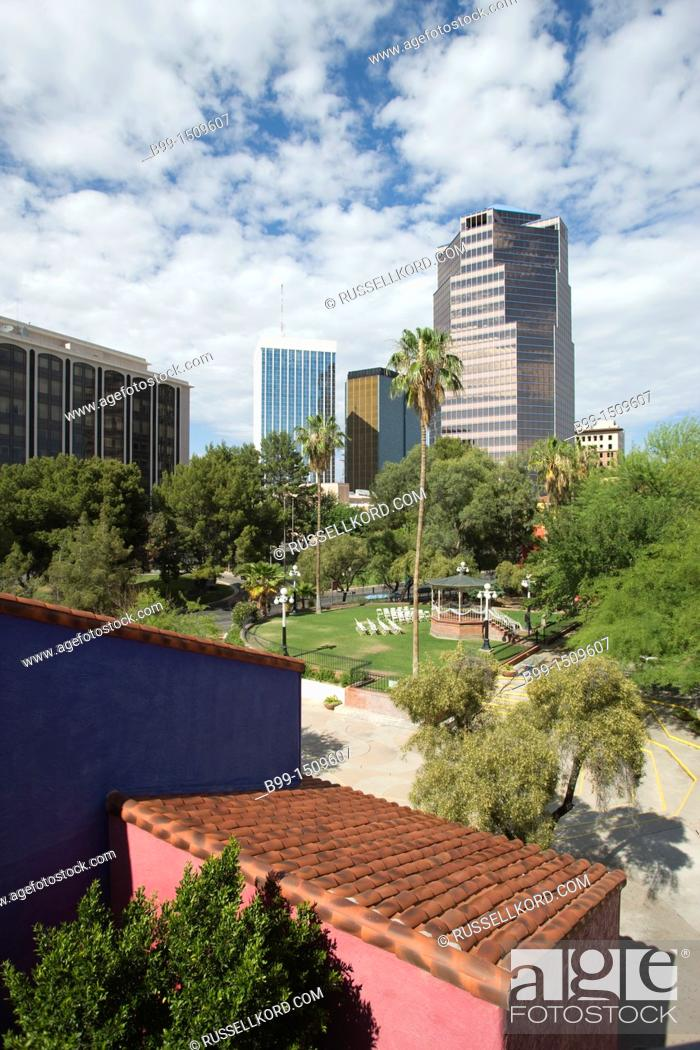Stock Photo: Red Tile Roof La Placita Village Downtown Tucson Arizona USA.