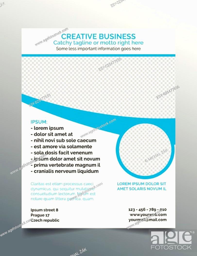 Stock Vector: Creative business flyer - modern blue minimal design.
