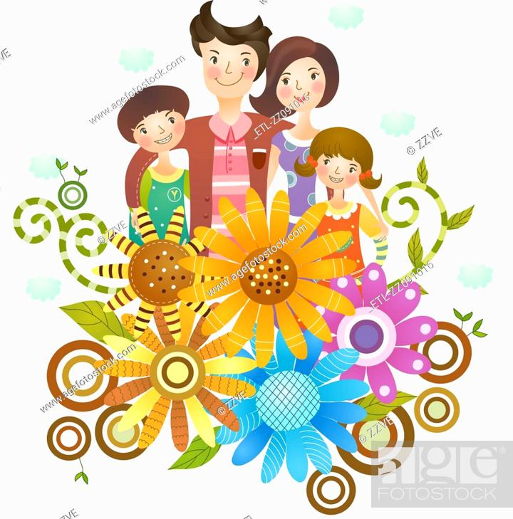 Stock Photo: Portrait of happy family.