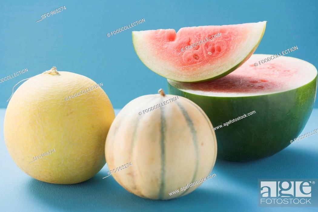 Stock Photo: Three different melons.