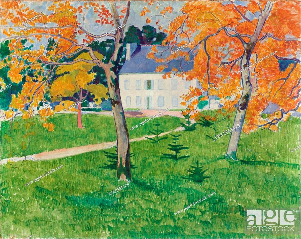 Photo de stock: Emile Bernard - House among trees- Pont-Aven - Van Gogh Museum, Amsterdam.