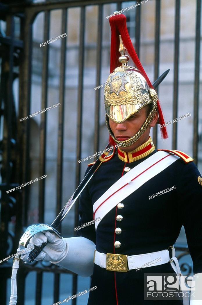 Stock Photo: England - London - St James's district - Whitehall - guard.