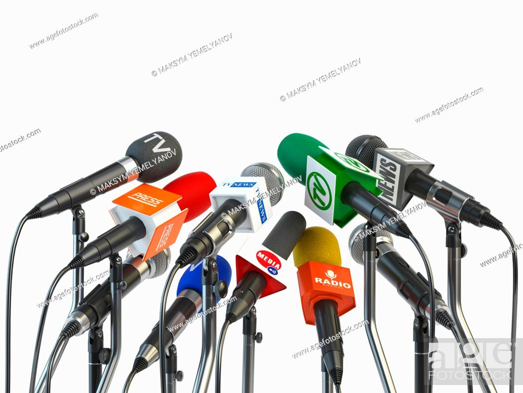 Imagen: Microphones prepared for press conference or interview isolated on white background. 3d illustration.