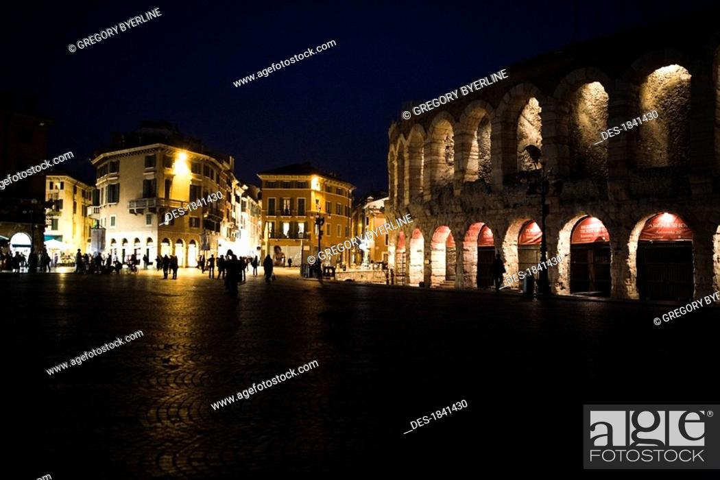 Stock Photo: Verona illuminated at night, Italy.