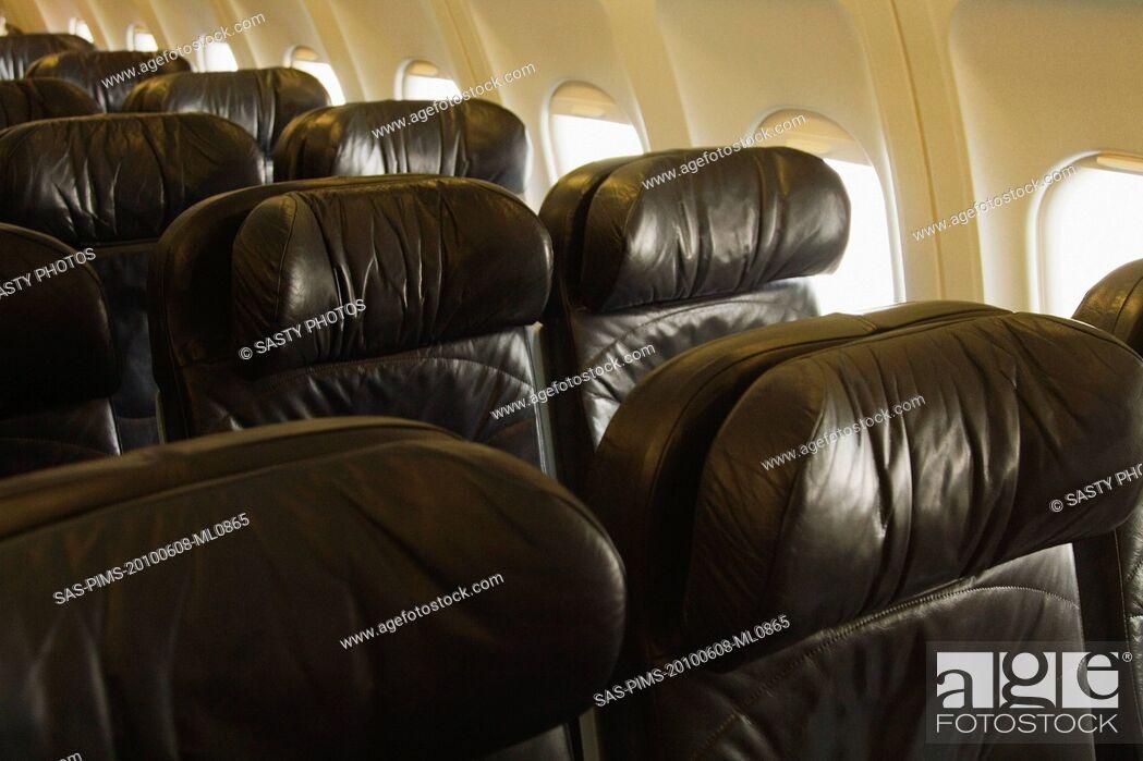Stock Photo: Seats in an airplane, Cork Airport, Cork, County Cork, Republic of Ireland.