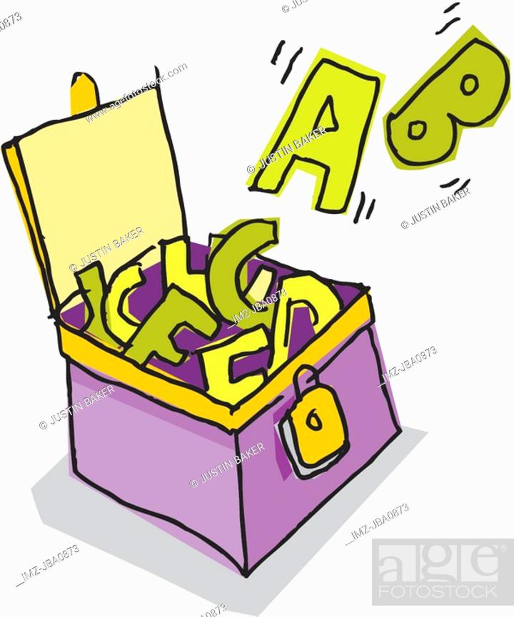 Stock Photo: A picture of an open box of letters.