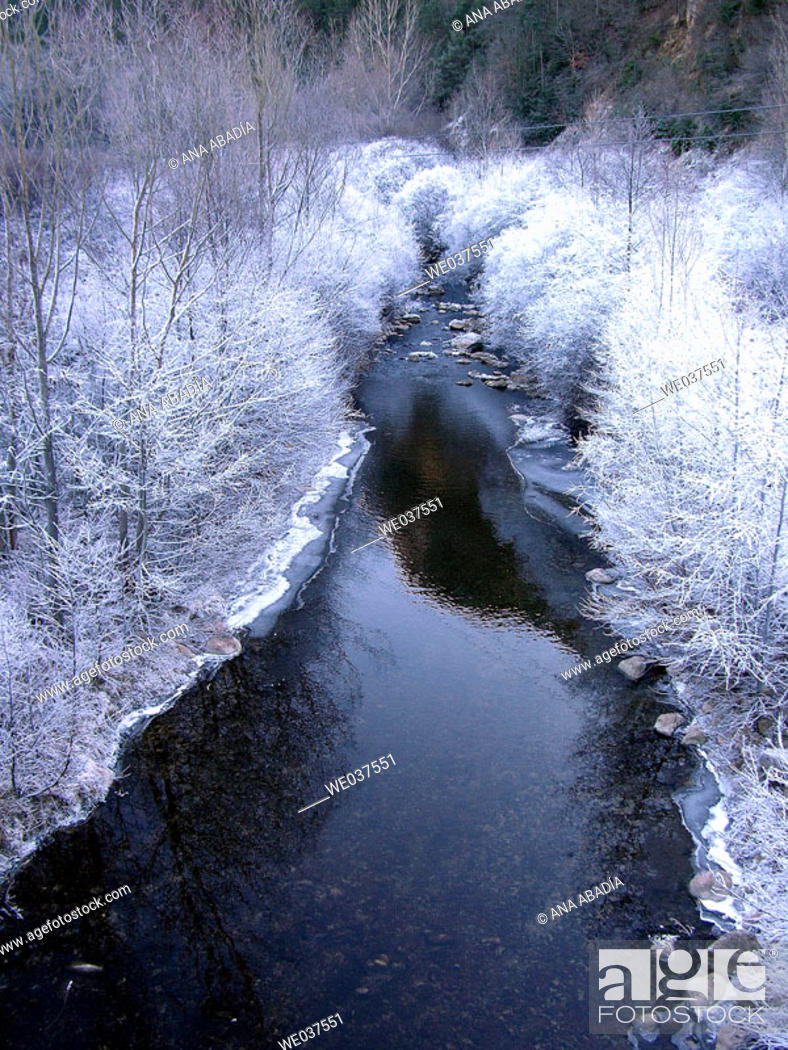 Stock Photo: Frozen Llobregat river. La Pobla de Lillet, Barcelona province, Catalonia, Spain.