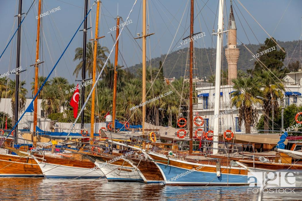 Stock Photo: Harbour Bodrum with mosque Tepecik Cami Marina. Bodrum, Turkey.