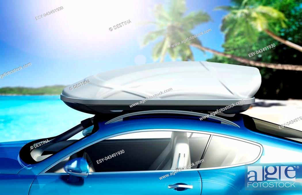 Stock Photo: Car with roof rack near seashore. 3D illustration.