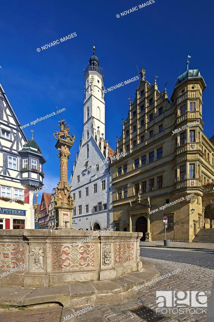 Stock Photo: Herterichsbrunnen and town hall tower in Rothenburg ob der Tauber, Middle Franconia, Bavaria, Germany.