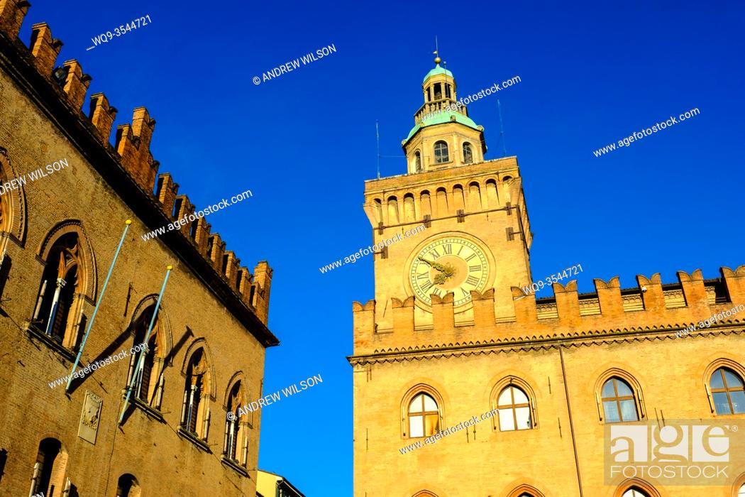 Stock Photo: Early morning at the Town Hall (Comune di Bologna), Bologna, Italy.