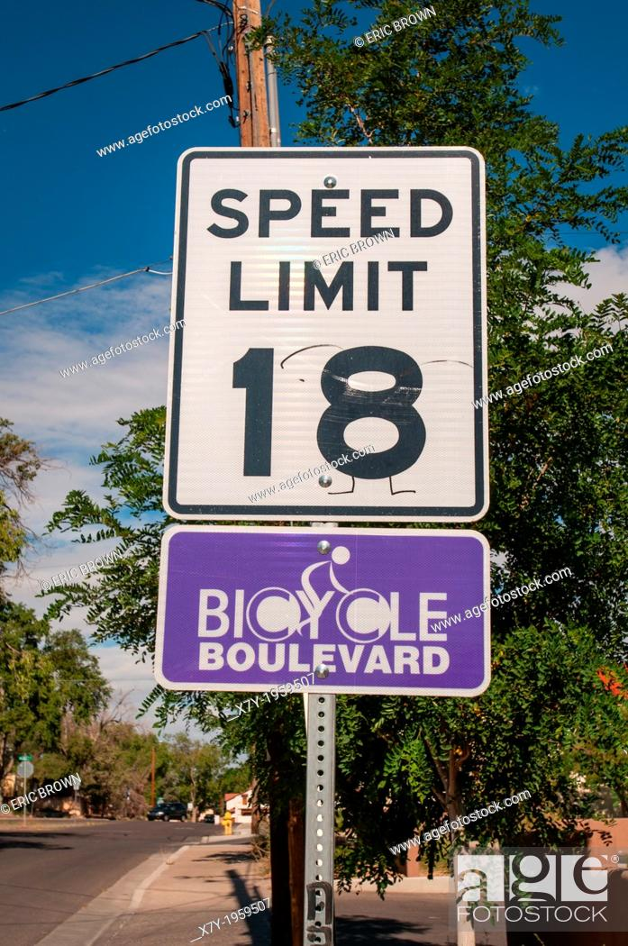 """Stock Photo: Special speed limits are enforced in """"""""Bicycle Boulevards"""""""" where cars and bicycles have a speed limit of 18 miles per hour."""