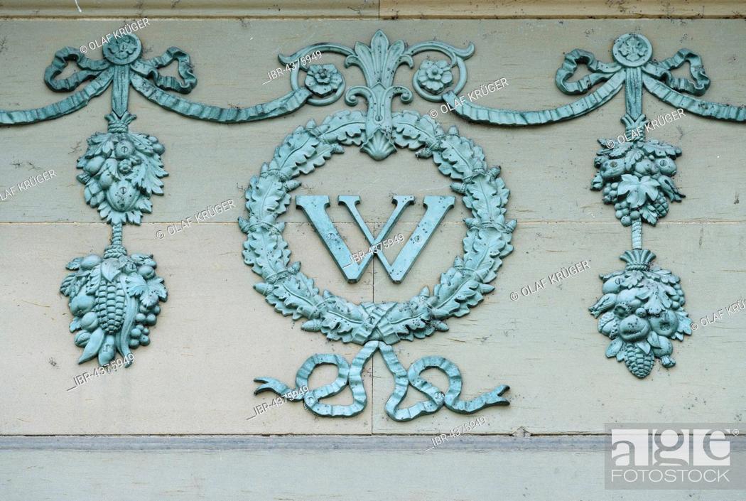 Stock Photo: Ornamental frieze with capital W, Wilhelma Zoo, Stuttgart, Baden-Württemberg, Germany, Europe.