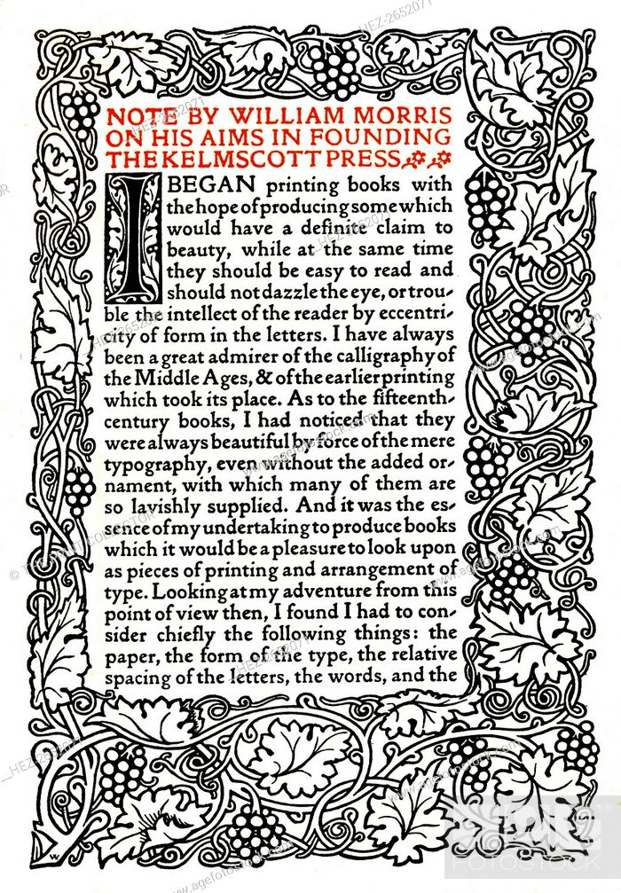 Stock Photo: 'Kelmscott Press: Page printed in the Golden Type', c.1895, (1914). Illustrated page: 'Note by William Morris on his aims in founding the Kelmscott Press' in.