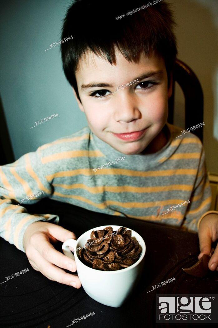 Stock Photo: Boy eating.
