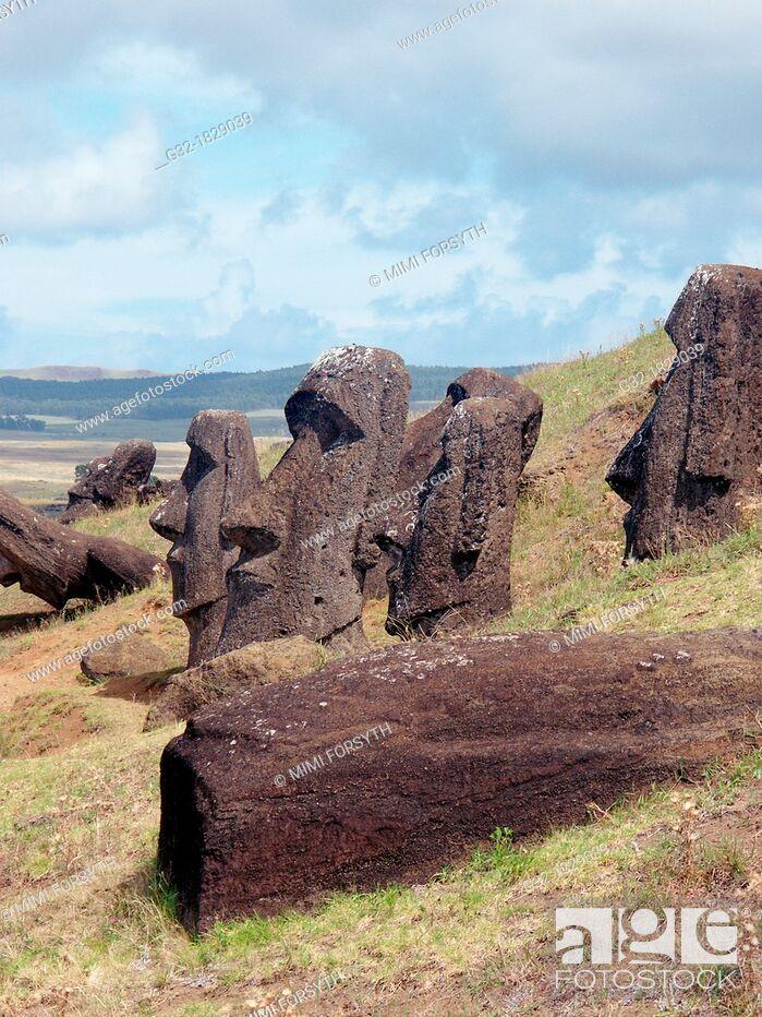 Stock Photo: moais, Rano Raraku, Rapa Nui/Easter Island  Chile.