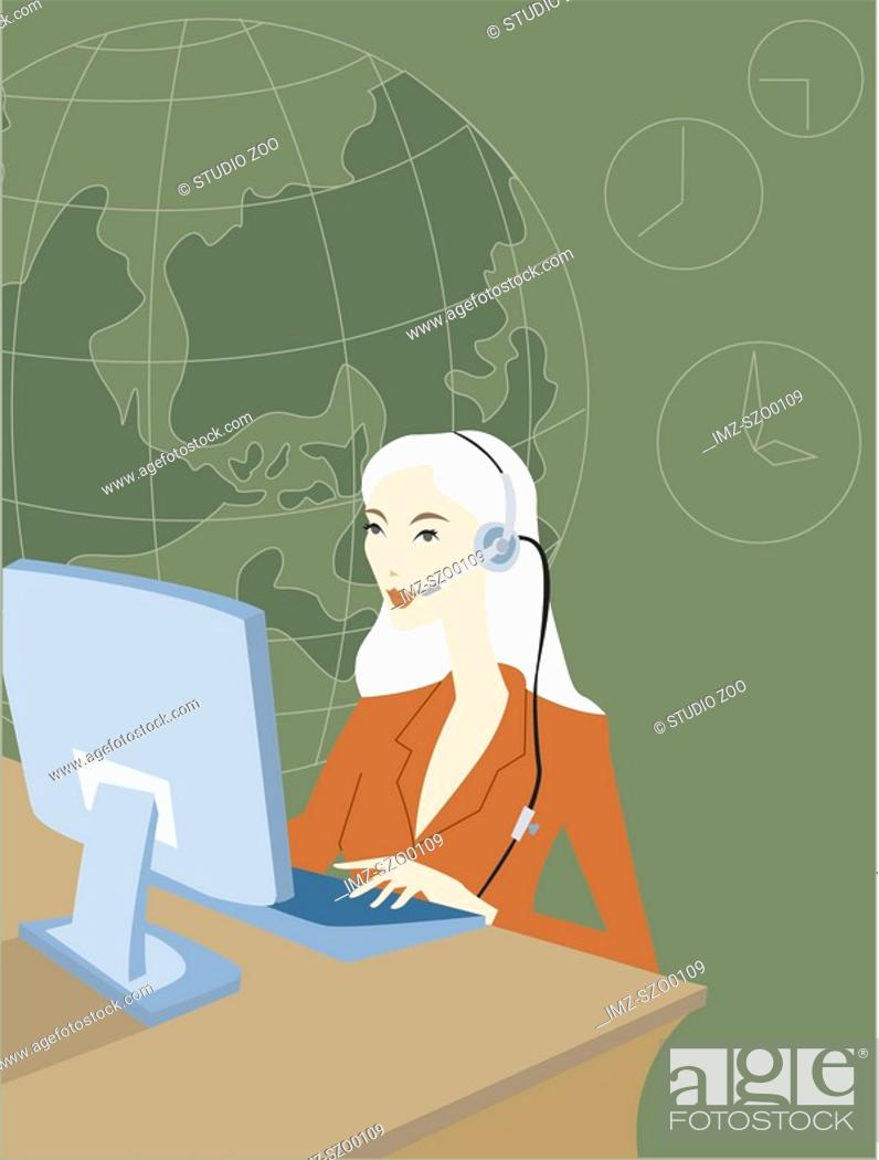 Stock Photo: International call center operator.