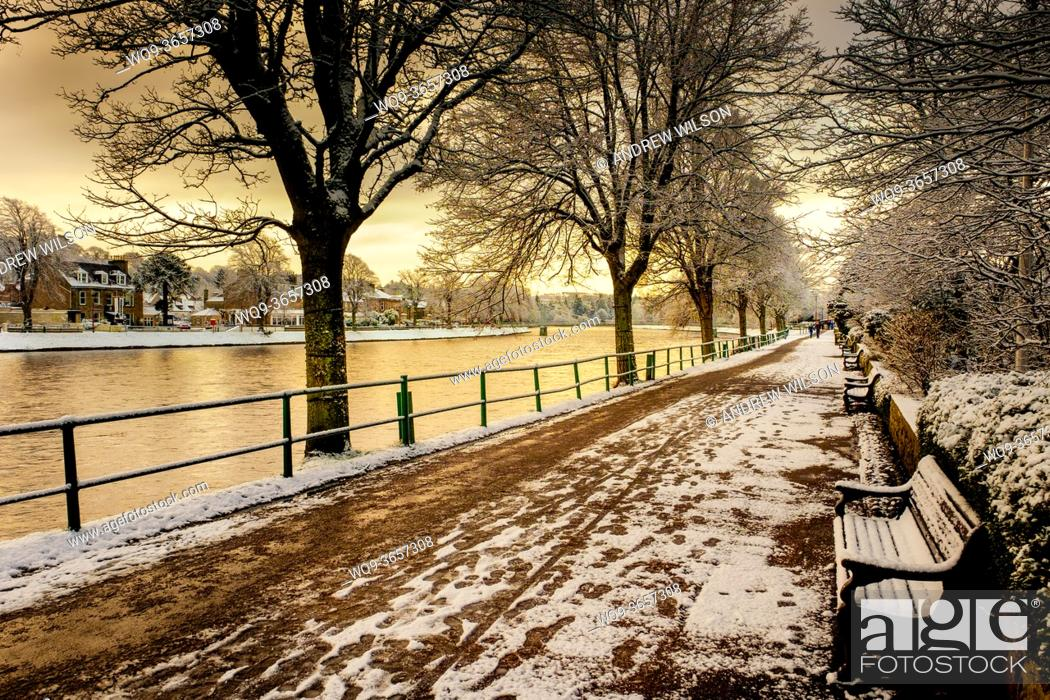 Stock Photo: Ness Walk, Inverness, Scotland with a dusting of snow in winter.